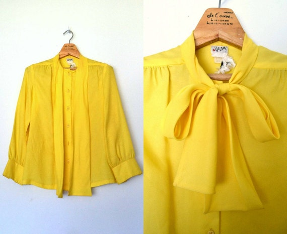 Yellow Bow Tie Blouse 71