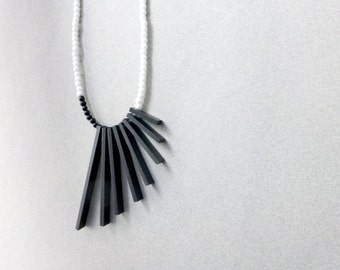 black & white geometric necklace , minimalist tribal contemporary jewelry