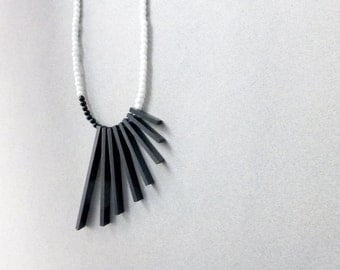 black & white geometric necklace - minimalist tribal contemporary jewelry