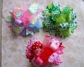 Holiday Hair Bow, Colorful Hair Ribbon, Custom Baby Hairbow, Ribbon Hair Clip, Baby Hair Bow Clip, Valentine, St. Pat, Easter Bow