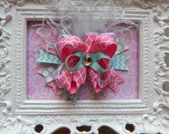Aqua Pink Gray Hair Bow, Aqua Over the top hair bow, hair bows for girls, hairbows, hair bow, hair bows