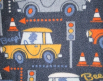 Handmade Fleece Blanket - Cars and Trucks with Orange - Ready to Ship Now