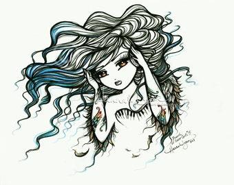 Music Notes Tattoo Angel Sketch Fairy Fantasy Art 8x10 Print Hannah Lynn