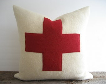 Ivory Wool Blanket Pillow Cover Red Swiss Cross