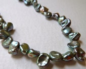 Lustrous Green Keishi Petal Pearls - 5mm to 6mm - Top Drilled - Beautiful