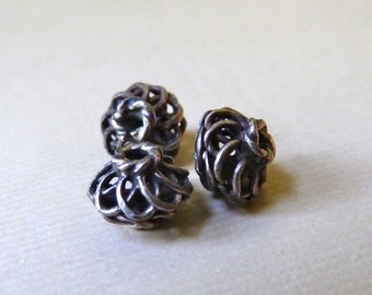 Coiled Silver Wire Ethnic Bead - 6mm x 7mm - Melon Shape