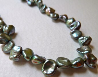 Green Keishi Petal Pearls - 5mm to 6mm - Top Drilled - Beautiful Luster