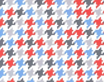 Blue Grey Red and White Everyday Houndstooth Fabric for Michael Miller, Everyday Houndstooth in Ozone, 1 Yard