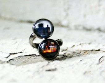 NYC Subway Train Adjustable Photo Jewelry Ring, New York City Urban Wearable Art Double Ring