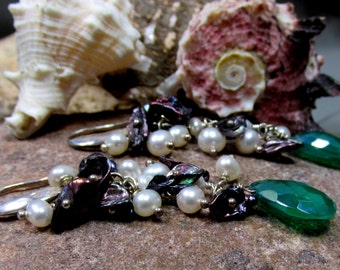 Green Onyx and Pearls Earrings - Sterling Silver, Green Onyx, Peacock Keishe, and White Pearls - Artisan Jewelry