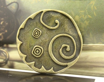 Metal Buttons - Swirl and Circles Metal Buttons , Antiqued Brass Color , Shank , 1.06 inch , 6 pcs