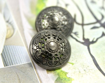 Metal Buttons - Medieval Filigree Metal Buttons , Shiny Gunmetal Color , Domed , Openwork , Shank , 0.79 inch , 10 pcs