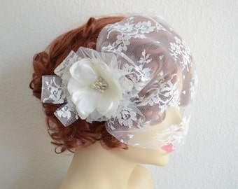 Bridal Ivory lace Flower with Birdcage lace Veil, Lace mini veil,Flower and Veil,Rhinestones and Pearls,Chantilly Lace Veil