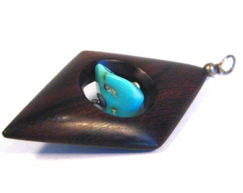Vintage 50s 60s Mid Century Modernist Rosewood & Turquoise Necklace Pendant