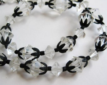 Vintage 50s Laguna Faceted Crystal Glass Bead Choker Necklace