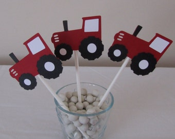 12 red TRACTOR cupcake Toppers