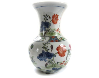 Tall Japanese Floral Hand Painted Porcelain Vase Hong Kong - Spring Poppy Floral Bouquet