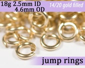 18g 2.5mm ID 4.6mm OD gold filled jump rings -- 18g2.50 goldfill jumprings 14k goldfilled jewelry supplies findings