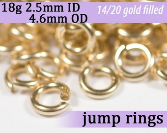 18g 2.5mm ID 4.6mm OD gold filled jump rings -- 18g2.50 goldfill jumprings 14k goldfilled