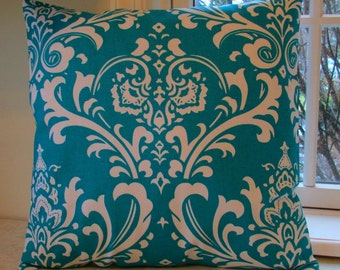 NEW  Designer Throw Pillow Covers Aqua Damask Both Sides All Sizes