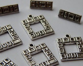 10 Sets of Metal Jewelry Clasps - 22mm Square Shape, Toggle Style, Square Geometric Design, Base Metal, Silver Color with Antique Details