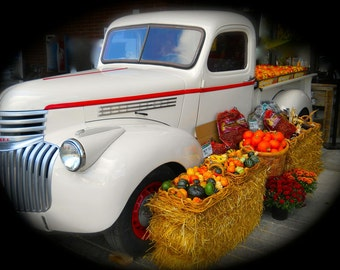 1938 Chevy truck with Fall fruit