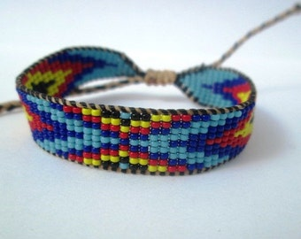 Huichol Native American Inspired Multi-Colored, Beaded Friendship Bracelet 112