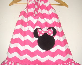 SALE Minnie Mouse dress 15% off coupon is til2016 Pink Chevron ruffled Swing dress  with  applique  3,6,9,12,18, month,2t,3t,4t,5t,6,