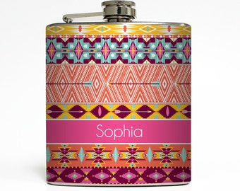 Personalized Flask Custom Name Monogram Aztec Tribal Hipster Trendy Sorority Bridesmaid Gifts Stainless Steel 6 oz Liquor Hip Flask LC-1230