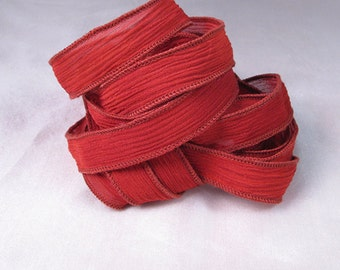 Hand Dyed Silk Ribbons - Crinkle Silk Jewelry Bracelet Fairy Ribbon - Quintessence - Red Crinkle