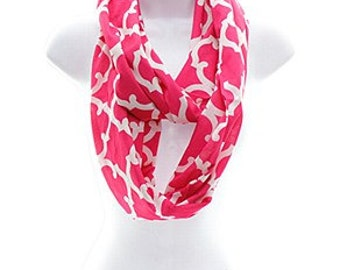 Personalized Geometric Infinity scarf in Hot Pink and white Make great gifts