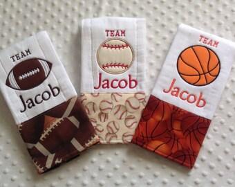 Baby Boy Set of 3 Personalized Burp Cloths, Sports - Baseball, Basketball, Football