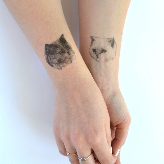 Temporary tattoos set of three fake cat tatts by helloharriet for How to make a fake tattoo look real