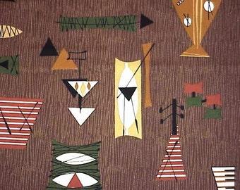 Tiki Mambo Barkcloth - Chris Stone Designer Barkcloth - Brown -- NEW, Out-of-Print fabric - Sold By the Yard