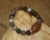 Jasper Stretch Bracelet with Carved Soapstone Focal Bead and Rhinestone Spacers