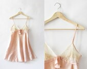 Lace Satin Pink Slip Nightdress - 1980
