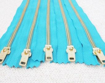8inch - Turquoise Metal Zipper - Gold Teeth - 5pcs
