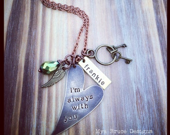 i'm always with you - with personalized name pendant and little gold angel wing with green crystal drop