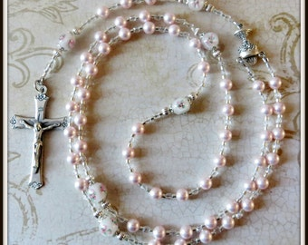 First Communion Rosary, Pink Swarovski Pearl & Lampwork, Girls Catholic Rosary for Sacramental Communion Gift