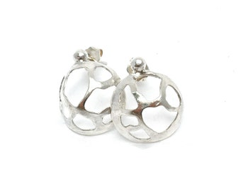 Abstract Rounded and Pierced Sterling Silver Post Earrings