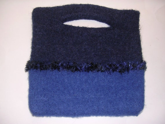 "50 % -"" MAYSALE""code,Navy pocketbook,  Handknitted and Felted wool with Decorative trim"
