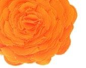 Fabric flower pin orange fabric flower brooch