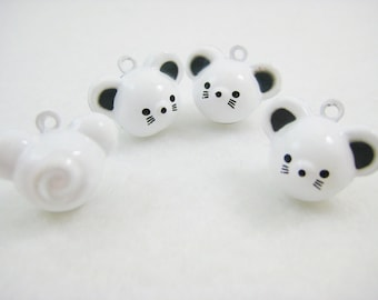 4 Pieces White Mice Mouse Animal Jingle Bell Charm