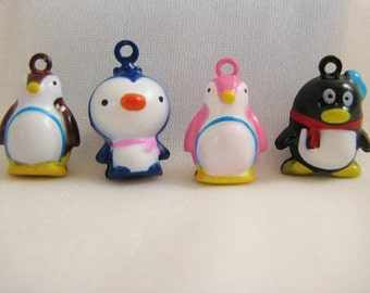 Penguin Collection - 4 Pieces - 1 Brown Penguin, 1 Blue Penguin, 1 Pink Penguin, 1 Black Penguin Animal Jingle Bell Charms