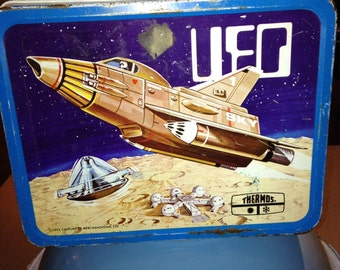 vintage 1973 thermos brand UFO space metal lunch box LB lunchbox