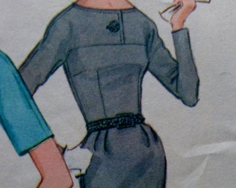 60s Buttoned Yoke Wiggle Skirt Dress Pattern McCalls 6881 Box Pleat Pattern Bust 32 Size 12 UNCUT
