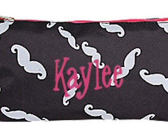 PERSONALIZED Black, White & Hot Pink Mustache Print Cosmetic Bag Pencil Pouch