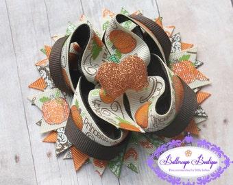 Pumpkin bow, pumpkin layered bow, Thanksgiving layered bow, Thanksgiving over the top bow