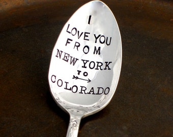 I Love You From Here to There. City State Coffee Spoon. CUSTOM. PERSONALIZED. Long Distance Relationship. The ORIGINAL Spoons. Made to Order