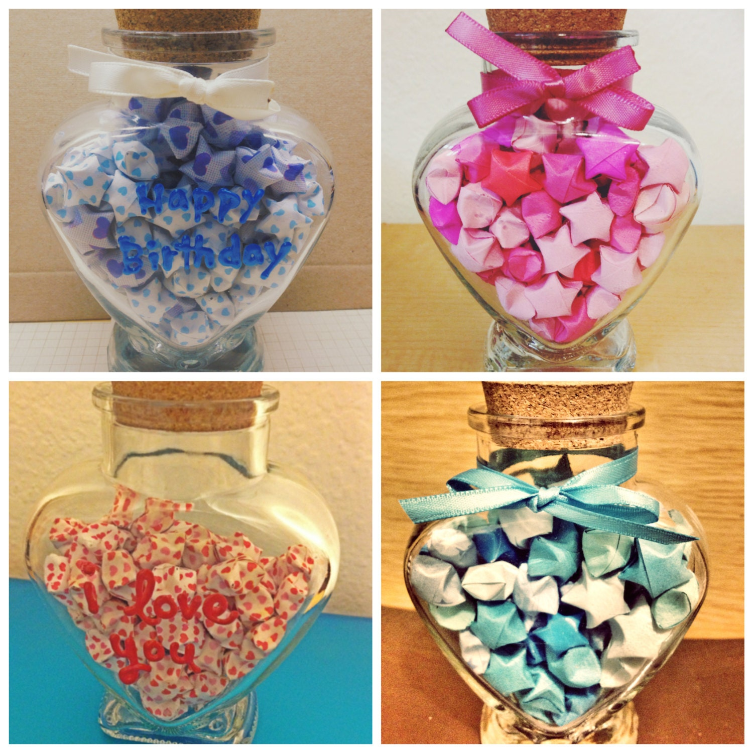 Heart Glass Jar with Paper Origami Lucky by ... - photo#50